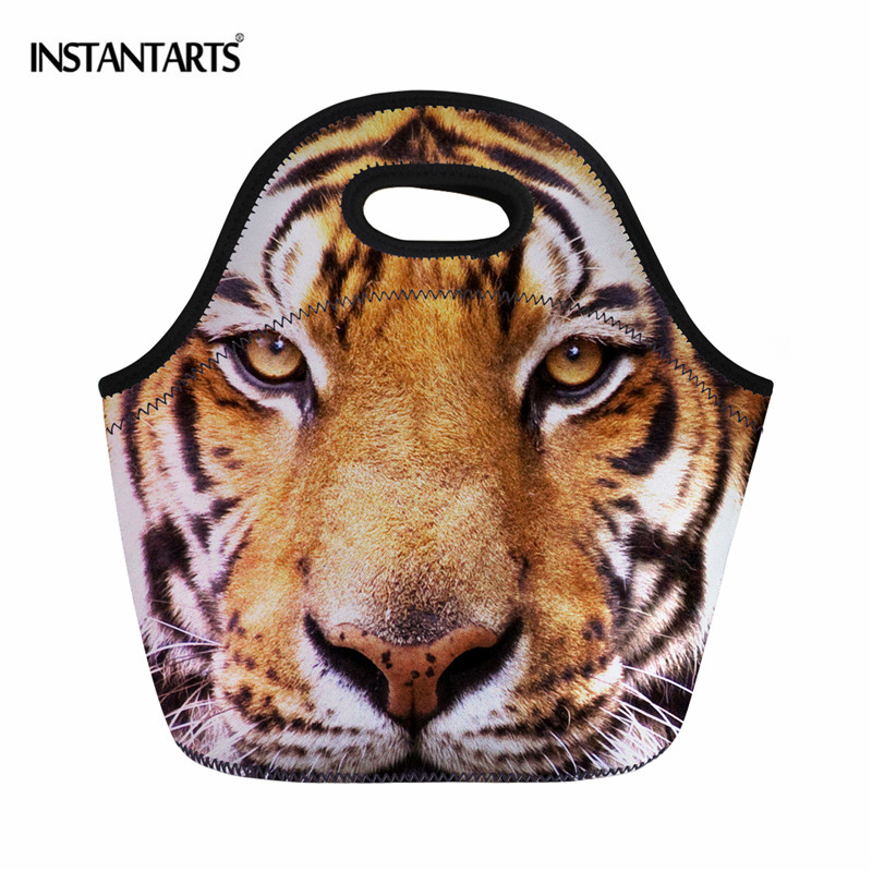 INSTANTARTS Neoprene Lunch Bag 3D Animal Tiger Lion Printing Thermal Lunch Box for Women Kids Outside Travel Picnic Food Bag