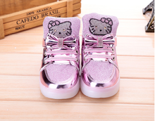 Kids sneakers hello kitty leisure lovely  bowknot girl  brand shoes spring autumn  cartoon shoes  26–30 LED glow