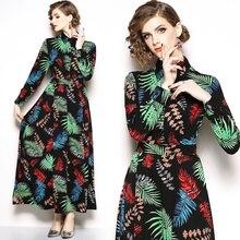 Women's new slim slimming printed long-sleeved dress fashion temperament elegant party dress цена 2017
