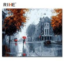 RIHE Rainy Street Diy Painting By Numbers Romantic Landscape Oil On Canvas Cuadros Decoracion Acrylic Paint 40X50CM