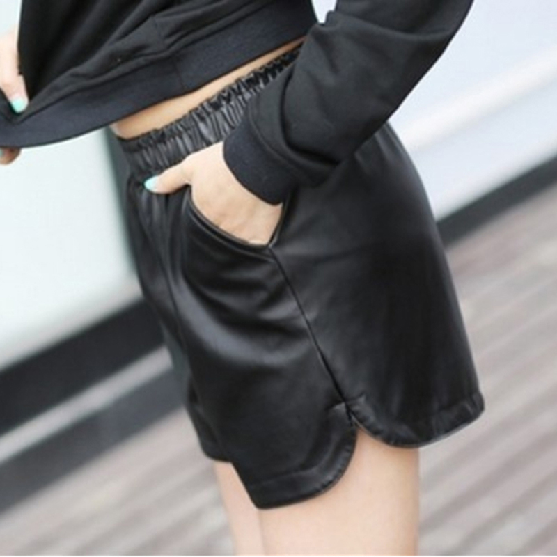 HTB1QRlRdB1D3KVjSZFyq6zuFpXaR - S-3XL Female Korean Casual Large Size Out Wear Wide Leg Elastic Band Short Pants Autumn/Winter Wild  PU Leather Shorts
