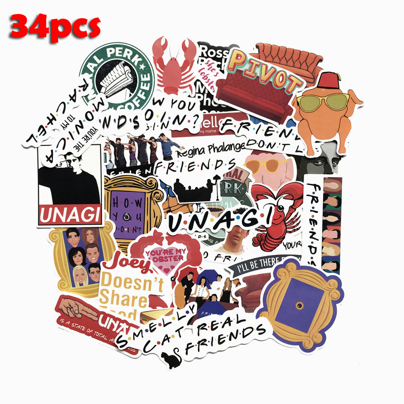TD ZW 34 Pcs/Lot American TV Friends Sticker Funny Slogan Decal For Laptop Car Skateboard Bike Fridge Guitar Classic Stickers