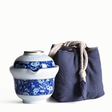 Blue-And-White Porcelain Portable Tea Set Ceramic Travel Teapots Chinese Kung Fu Cup And Saucer Teapot Kettle Gaiwan