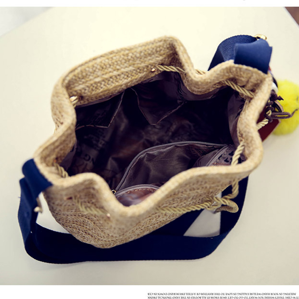 NEW lovielf 2017 Summer Ladies Fashion Straw Plaited Knit Beach Bucket Shoulder bags Crossbody Bags Linen Knitting Handbags