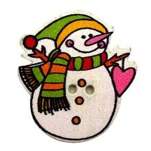 50 шт. милый Рождественский Снеговик Деревянные Пуговицы DIY шитье скрапбукинг ремесло инструмент