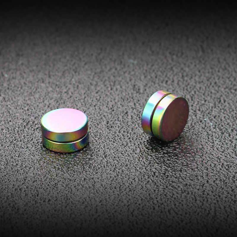 Innopes Korea Vintage Magnet Round Batu Stud Anting-Anting Pria Palsu Anting-Anting Stainless Steel Ditindik Telinga Klip Hitam Anting-Anting
