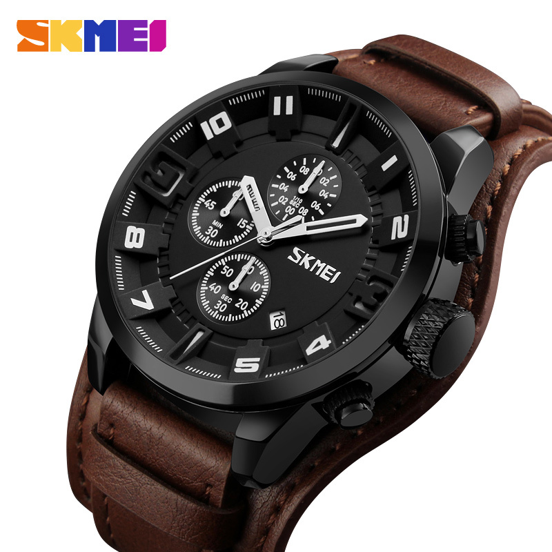 SKMEI Luxury Quartz Watch Men Detachable Leather Business Wristwatches Stopwatch Waterproof Sports Watches Relogio Masculino