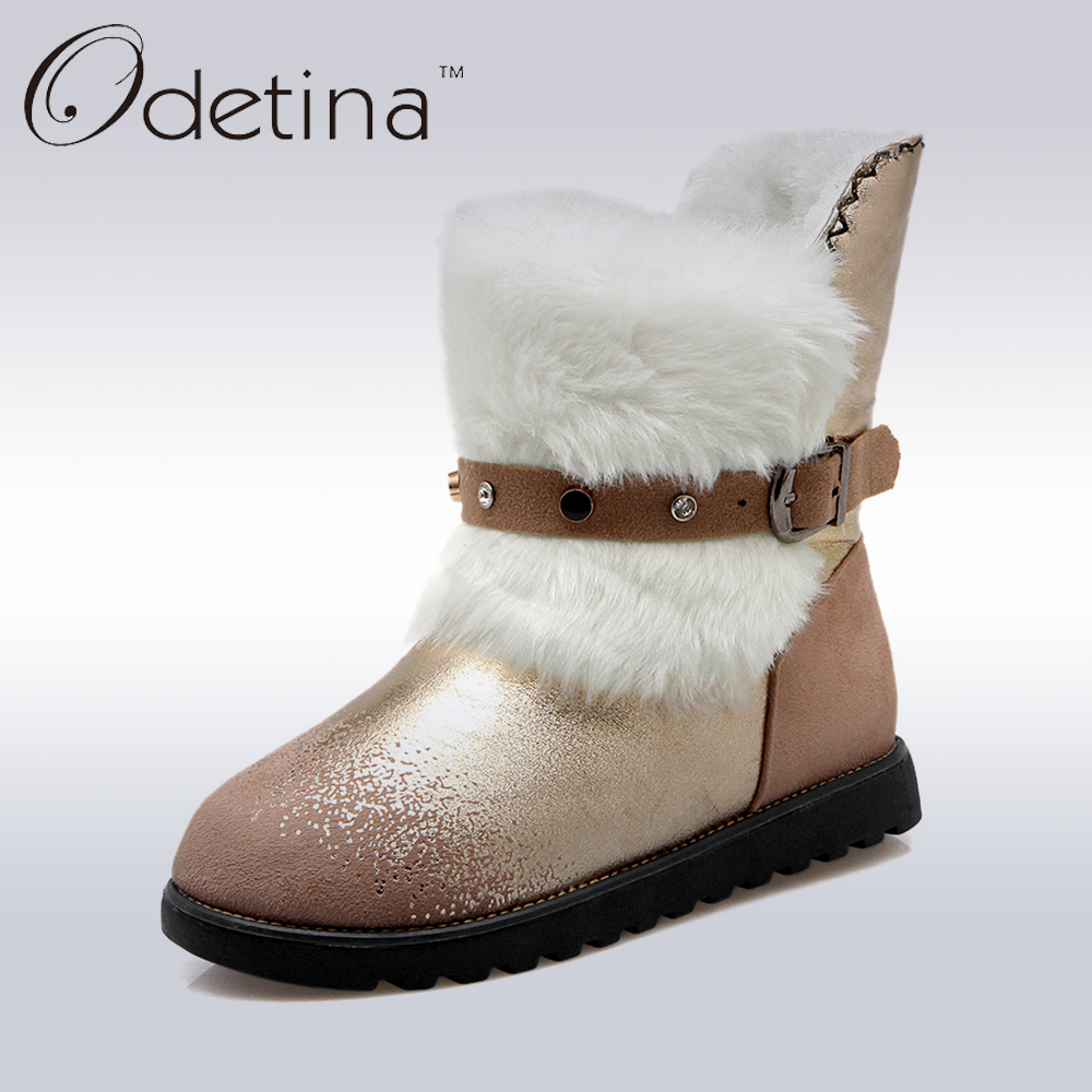 ФОТО Odetina Brand 2016 New Designer Winter Suede Snow Boots Buckle Strap Platform Women Ankle Boots with Fur Flat Shoes Soft Leather