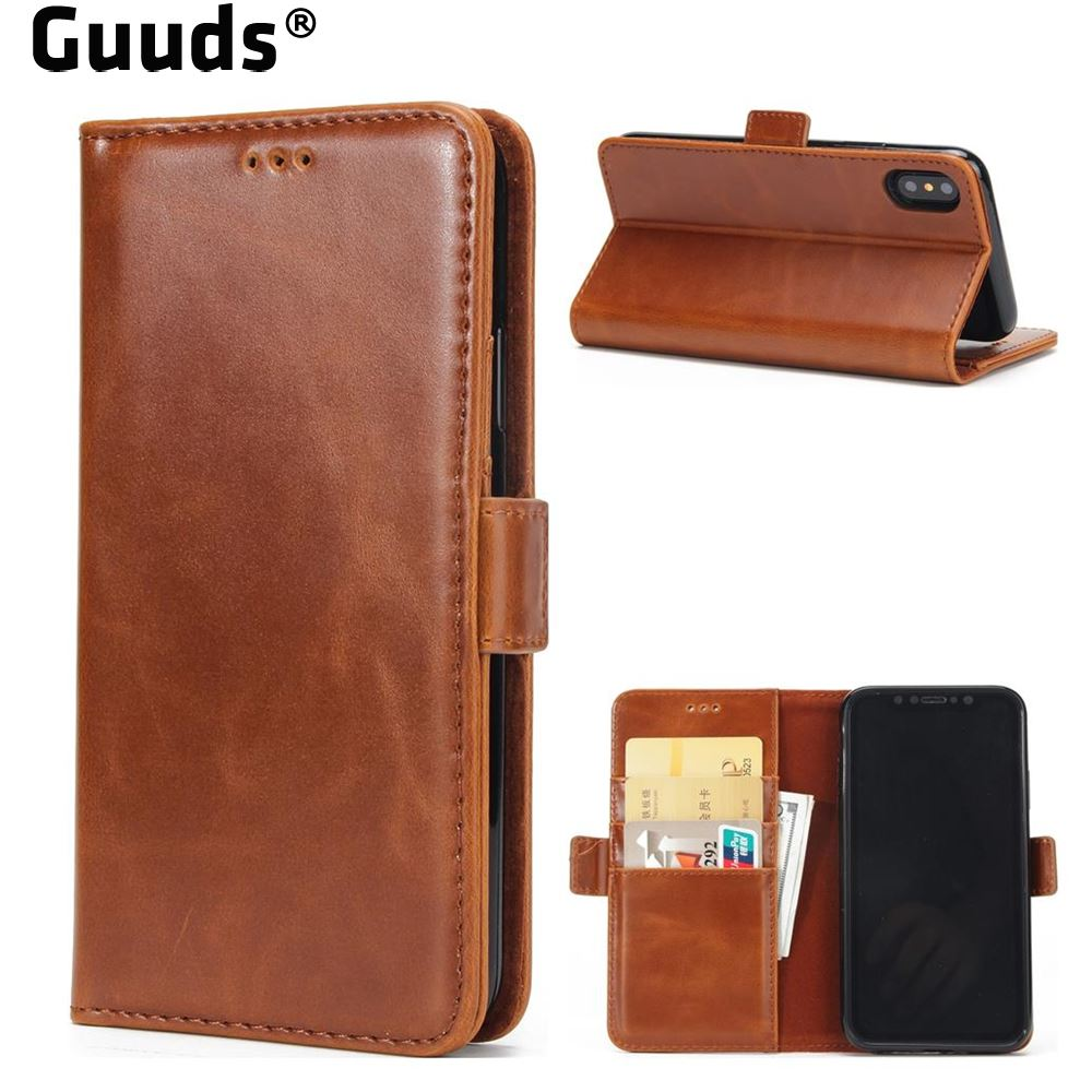 Guuds for iPhoneX Ten 10 Phone Cover Coque Bag Luxury Crazy Horse PU Leather Wallet Case for iPhone X(5.8 inch) FREE SHIPPING