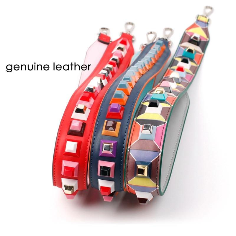 bag strap 100% genuine leather large big flower rivet strap you belt handbags belts bag accessory bags parts