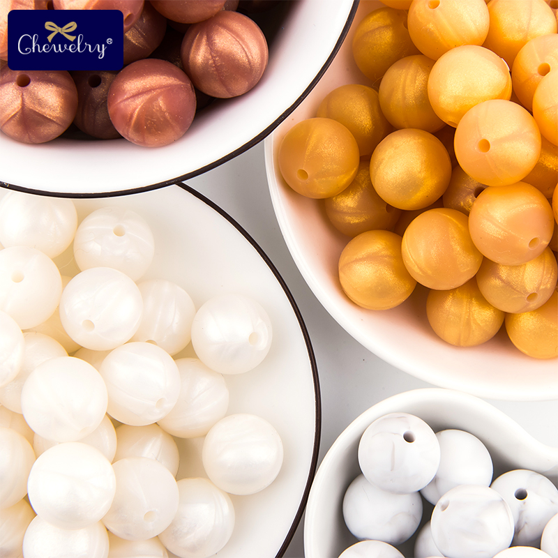 50PC 15mm Metallic Gold Round Silicone Beads Food Grade Baby Teethers Loose Beads Chewable For Pacifier Chain Necklace Beads