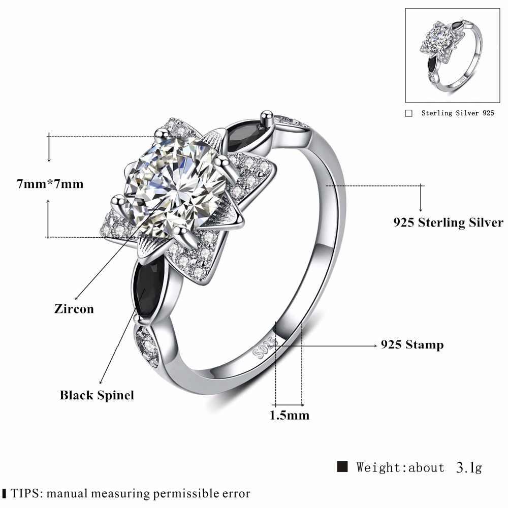 2018 新 Fower 925 スターリングシルバーファインジュエリー婚約ブラックスピネル花の婚約指輪 Anillos Mujer G086