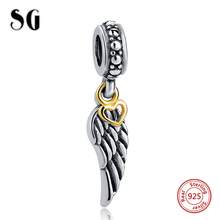 Silver Galaxy Wing with Love Heart Pendant Beads For Women Bracelet Fit pandora Charms Silver 925 Original Fashion DIY Jewelry цена