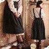 Japanese Harajuku Mori Girl Dress Women Clothing Retro Plaid Button Brace Kawaii Soft Thickening Vintage Belt