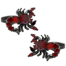 New Design Factory Price Retail Men Cufflinks Fashion TOP Copper Material Red Crystal Scorpion Design Cuff Links Free Shipping