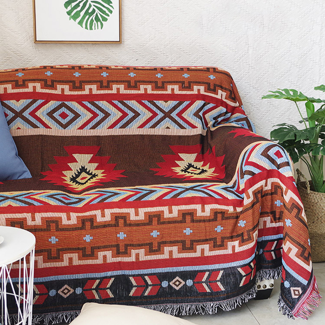 Indian Style Geometry Throw Blanket Sofa Decorative Slipcover