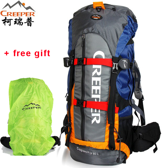 Creeper Camping Bag Professional Waterproof Rucksack Internal Frame Climbing Camping Hiking Backpack Mountaineering Bag 65L