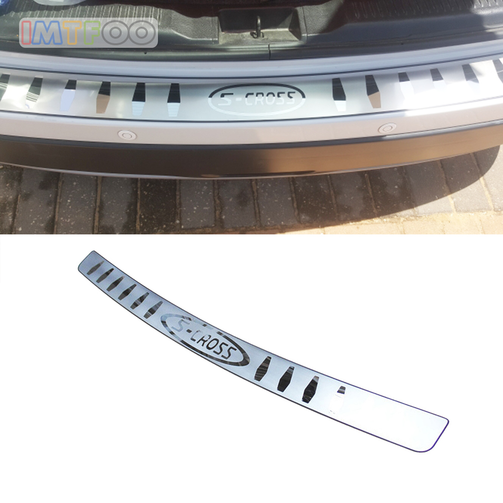 IMTFOO STAINLESS STEEL REAR DOOR TRUNK HATCH TAILGATE TRIM COVER MOLDINGS FOR SUZUKI S CROSS SX4 2015 2016 2017 ACCESSORIES