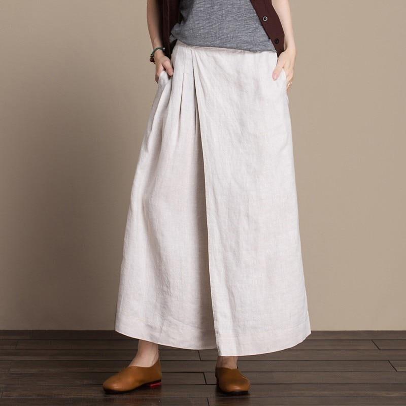Linen Wide leg Pants Women Elastic waist Skirt Plus size Trousers Original Oversized