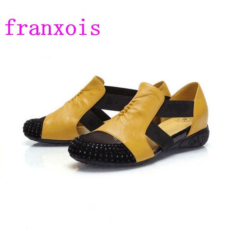 Franxois Women Sandals female flat heel rhinestone cutout elevator colorant match 2017 spring and summer sandal plus size shoes