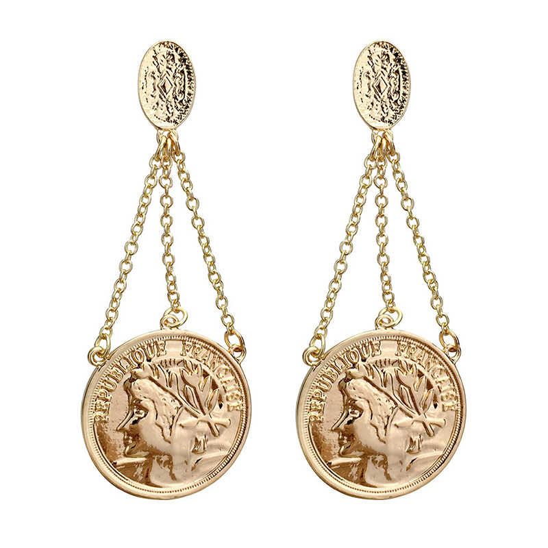 SRCOI Vintage Queen Coin With Multi Chains Drop Earrings Gold Color Round Face Earrings Bohemia Statement Brincos Pendientes New