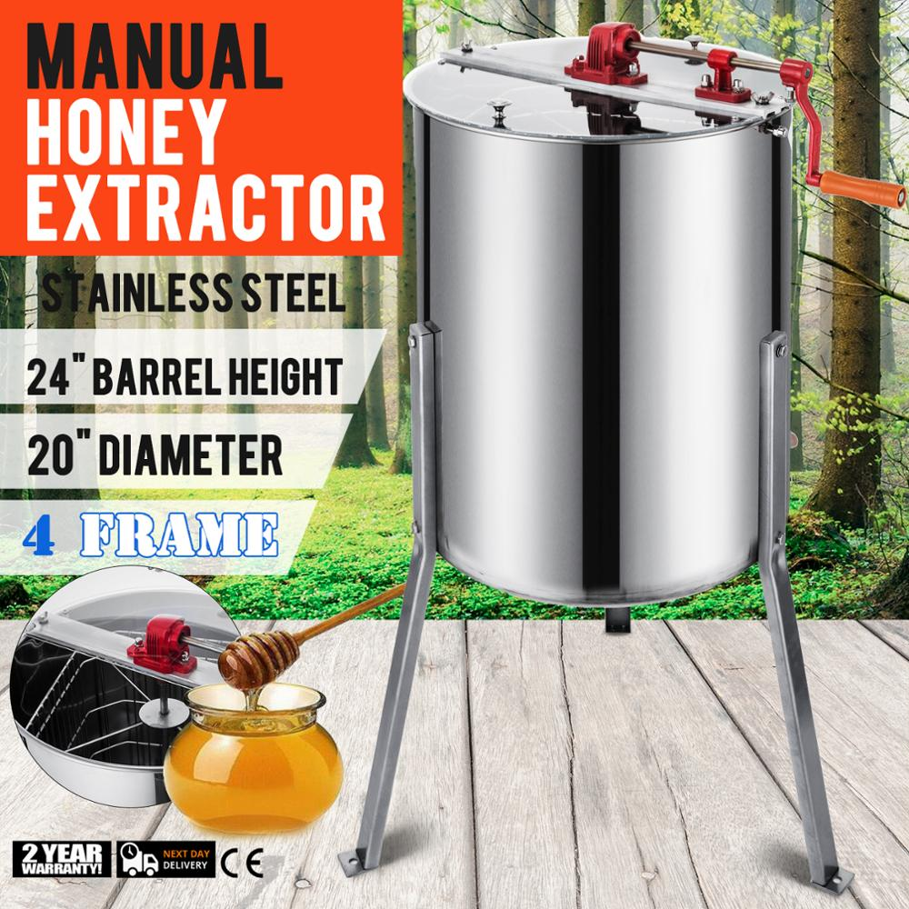 Manual  4 Frames Stainless Steel Honey Extractor With Cover Honey Outlet