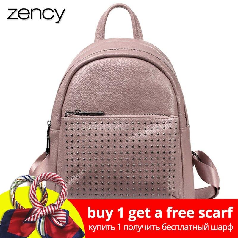 Zency 100% ægte læder ferie kvinder rygsæk med nitte preppy stil skolepose til piger mode rejser rygsæk taro pink