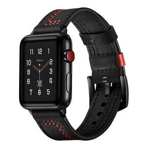 Image 2 - Ремешок из натуральной кожи для Apple Watch 6 SE, браслет для iWatch Series 5 4 3 2 1, 38 мм 42 мм 40 мм 44 мм