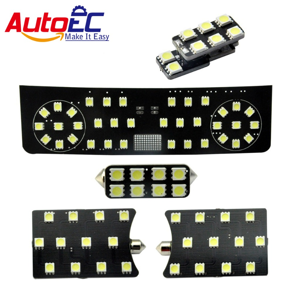 AutoEC 5pcs/set For Volkswagen VW SAGITAR 2012 Interior panel lights bulbs Dome&Map Reading Light Lamp kit 12v #LDK11 hot sale abs chromed front behind fog lamp cover 2pcs set car accessories for volkswagen vw tiguan 2010 2011 2012 2013