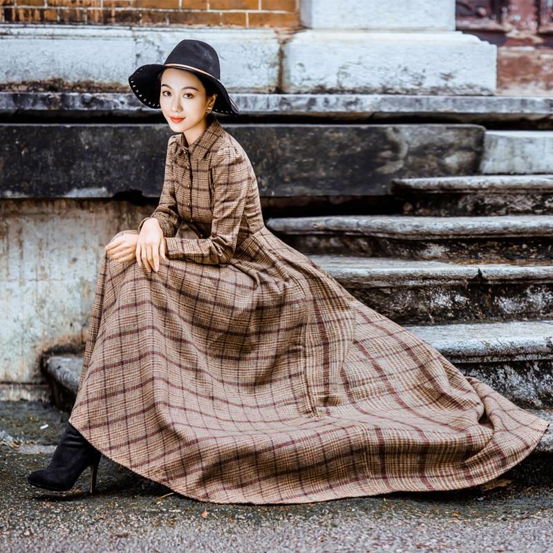 Camicia Xy951 Sfera Britannica Manica Lana Vintage Misto Retrò Abiti Fotografico Di Monopetto Abito Lunga Elegante Maxi Plaid Signore wqxXOZxT