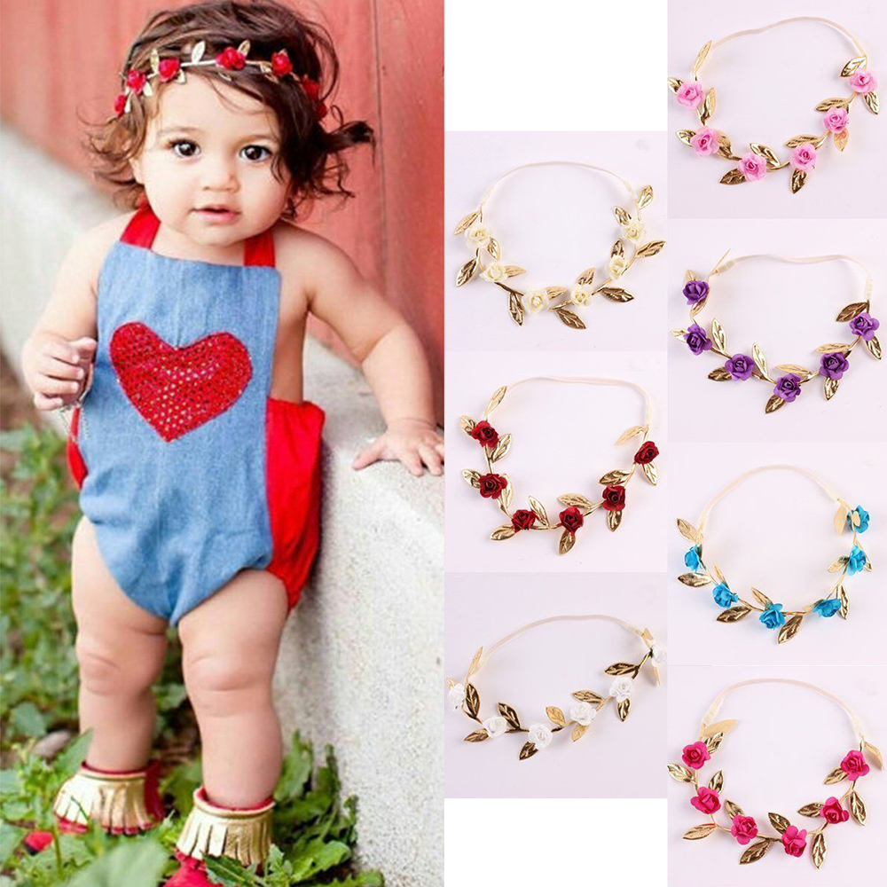 Rose Headband 2018 New Chidren Headwear Elegant Vintage Artificial Rose Garland Hair Band Headband Kids Hair Accessories Present