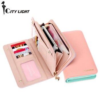 a1a34243f5b6 Новый женский кошелек Carteira модный контрастный цвет двойной-складной кошелёк  клатч высокой емкости женский длинный стиль кошелек