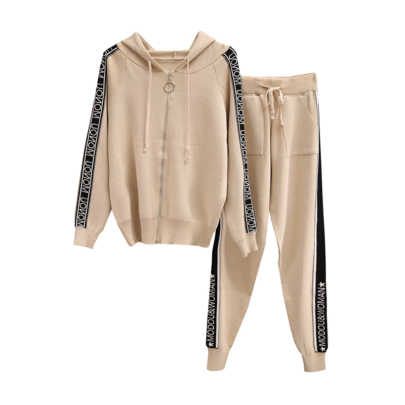 Winter Women Zipper Hooded Jacket Pants Knitted Tracksuits 2pcs Sets Knitting Sweaters Tops Trousers Clothing Set