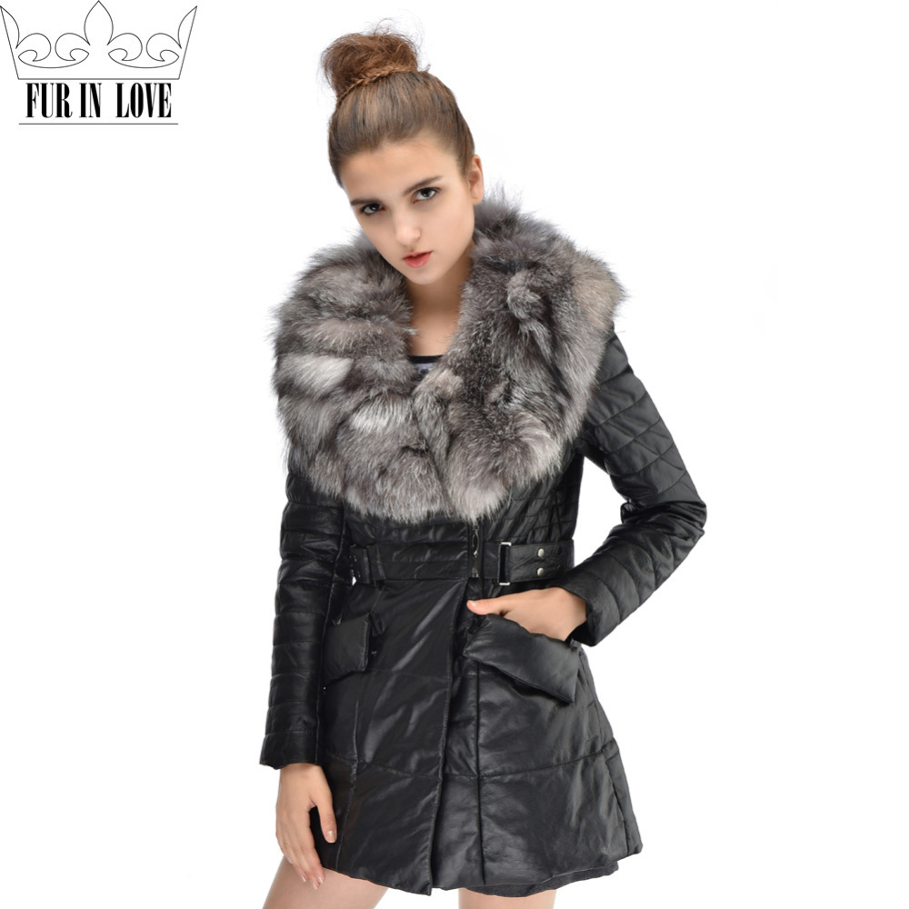 Fashion Style Genuine Leather Long Jacket With Large Silver Fox