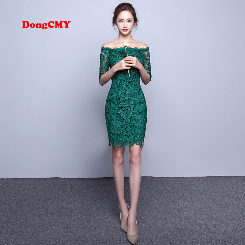 DongCMY Nya 2019 korta mode eleganta medellånga spetsar grön färg Party Bandage Cocktail Dress