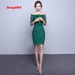 DongCMY nuevo 2019 vestido de cóctel de vendaje de fiesta de color verde de encaje de manga media elegante de moda corta