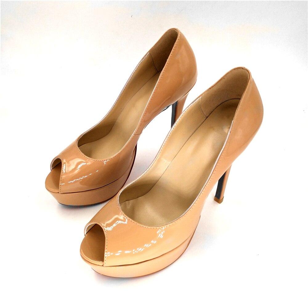 Stkehidba Marchi di Stilisti Donne scarpe tacco alto Peep Toe Sottili Tacchi Alti Pompe Del Cuoio Genuino Sandali da donna Piattaforma Pompe di Nozze-in Pumps da donna da Scarpe su  Gruppo 1