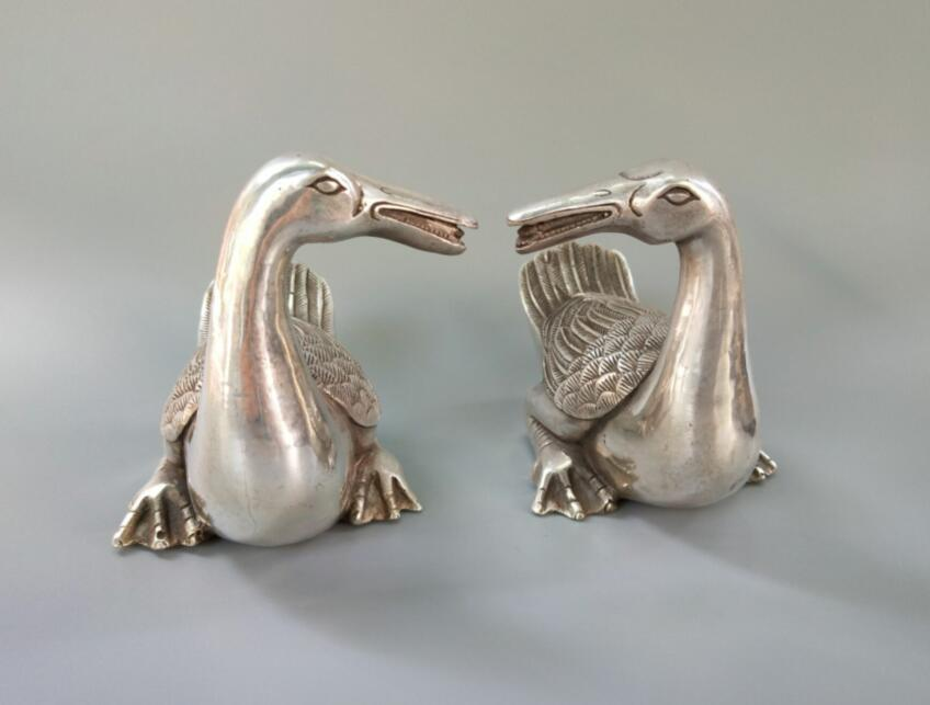 Chinese exquisite handicraft white copper duck a pairChinese exquisite handicraft white copper duck a pair