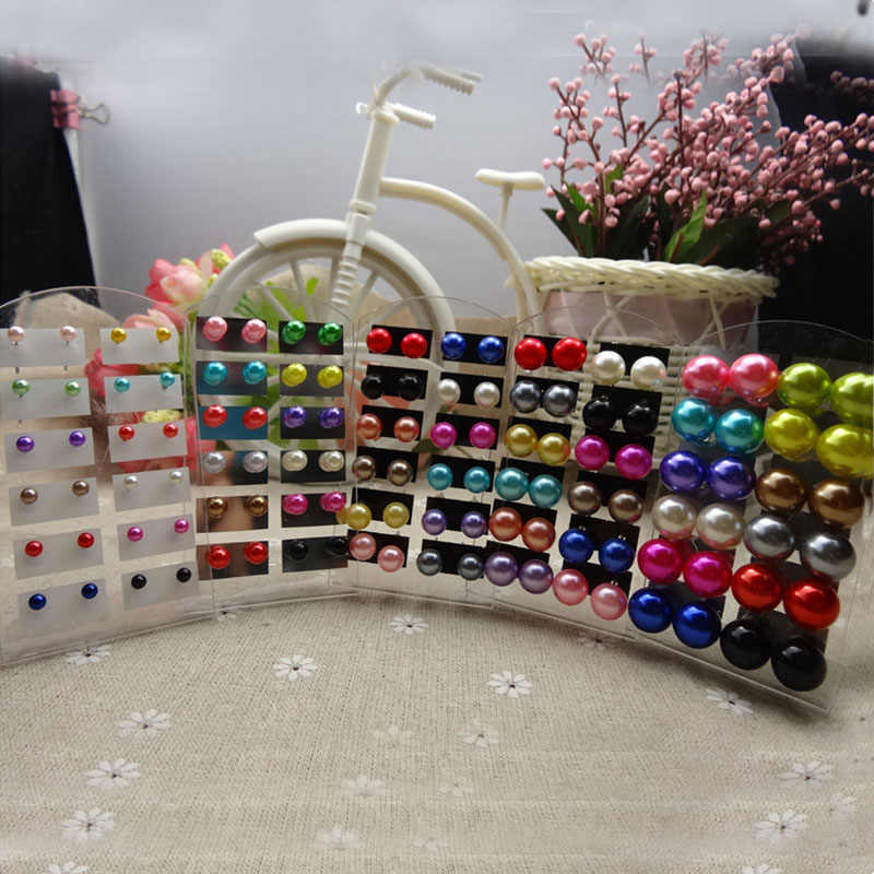 LNRRABC Fashion 12 Pairs/Pack Wholesale Women Colorful Round Artificial Pearls Ear Stud Ball Earrings Gift