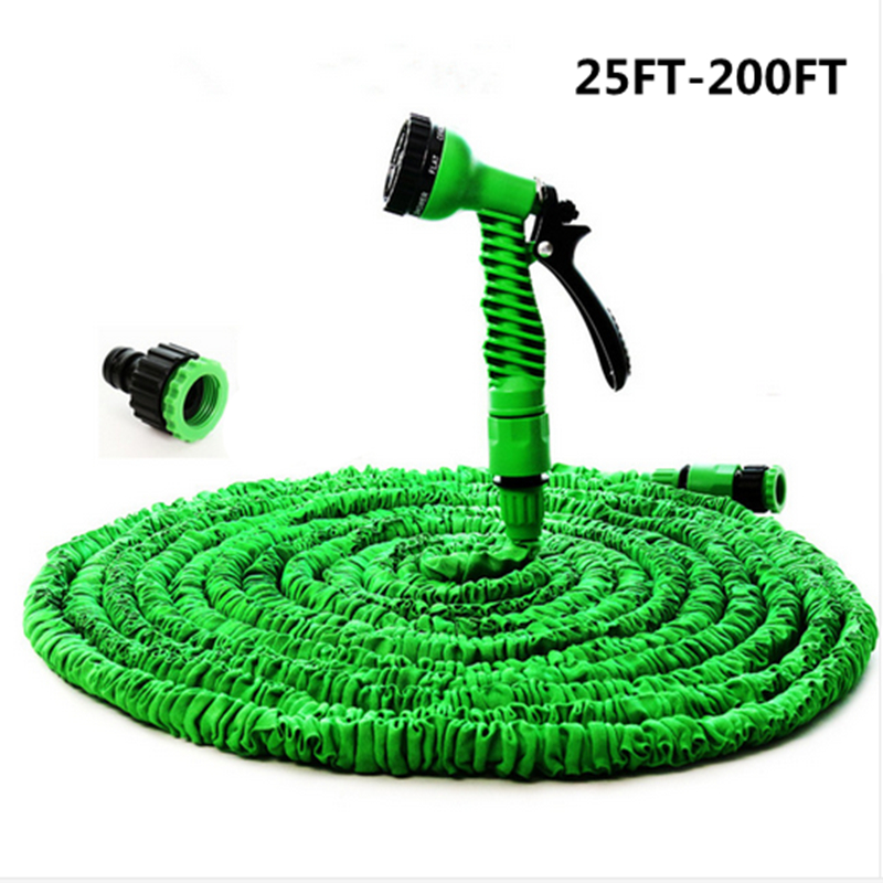 Hot Magic flexible hose Expandable Garden Hose reels Garden Water Hose Car Pipe watering connector Blue Green 25-200FT