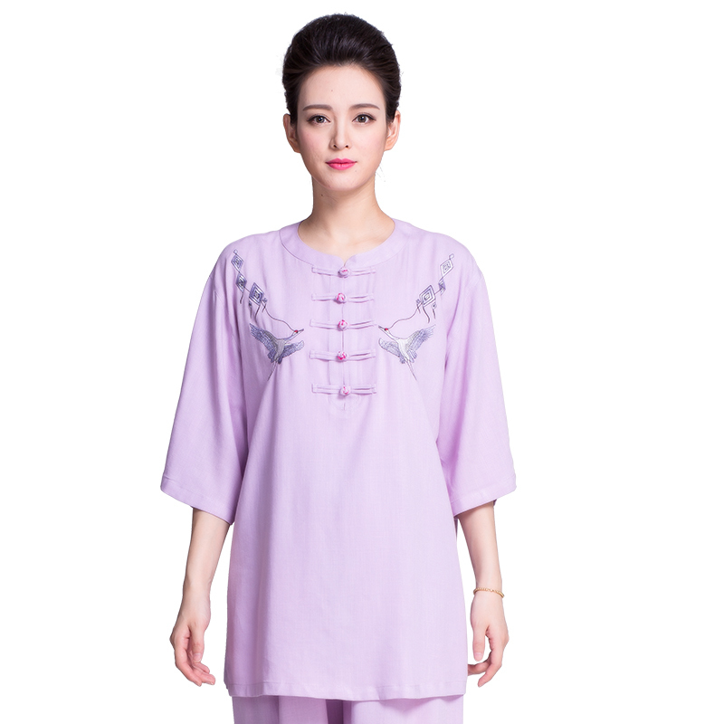 New Product  Summer Flax Cotton Tai Chi Uniform Embroidery Short Sleeve Women Martial Art Clothing 6 Colors