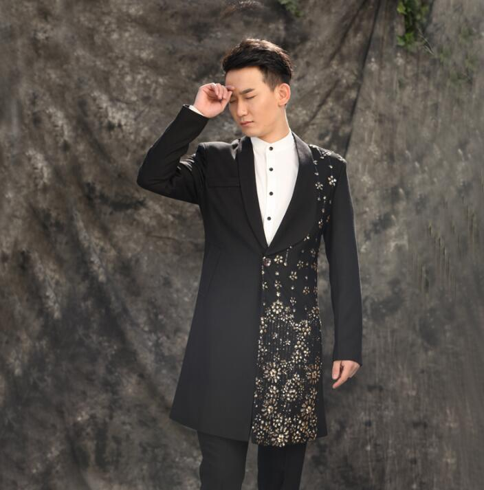 Free shipping men long suits designs stage costumes singers men sequin blazer dance clothes jacket star style dress punk black in Suits from Men 39 s Clothing