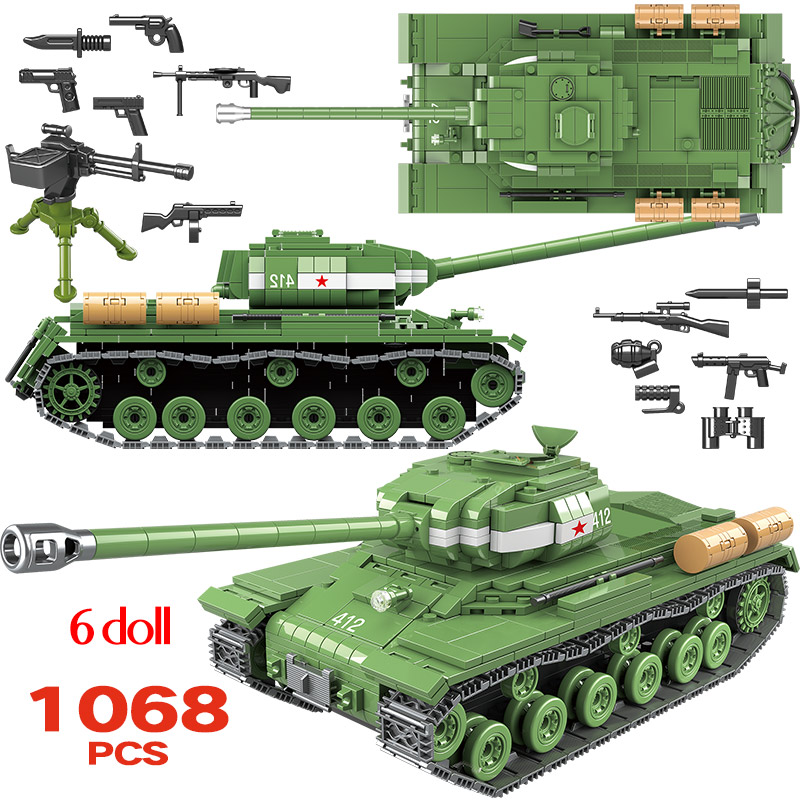 1068pcs Military IS 2M Heavy Tank Soldier Weapon Building Blocks Compatible WW2 Tank Bricks Army 100062