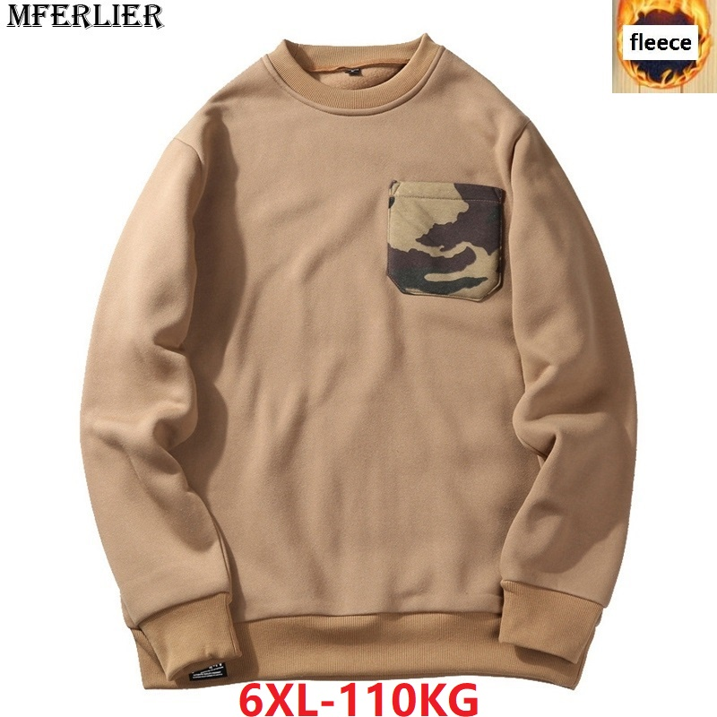 MFERLIER men Sweatshirt fleece warm large size big 5XL 6XL camouflage Sweatshirt pocket autumn pullover coat high street khaki