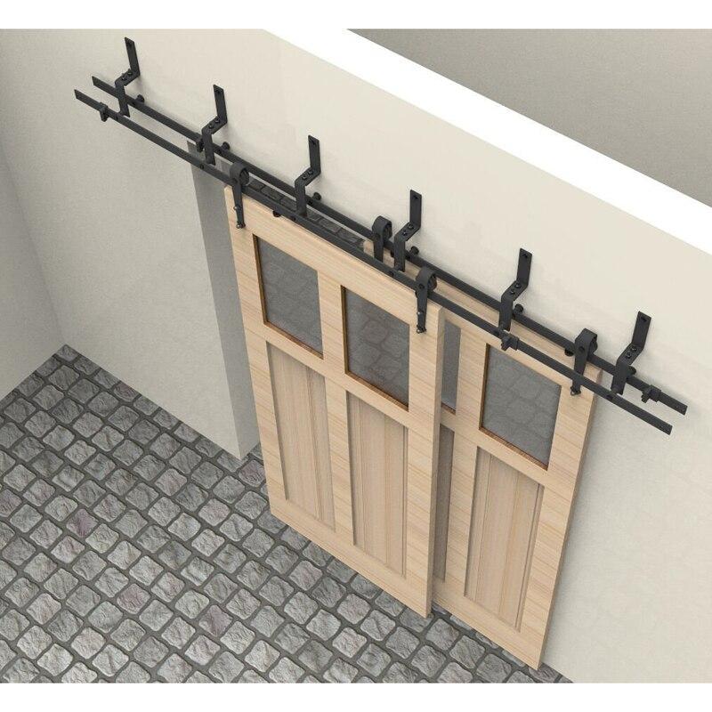 5FT/6FT/6.6FT/7.5FT/8FT/10FT Arrow Black Bypass Rustic Sliding Roller Barn  Double Wood Door Hardware Closet Track Kit Set