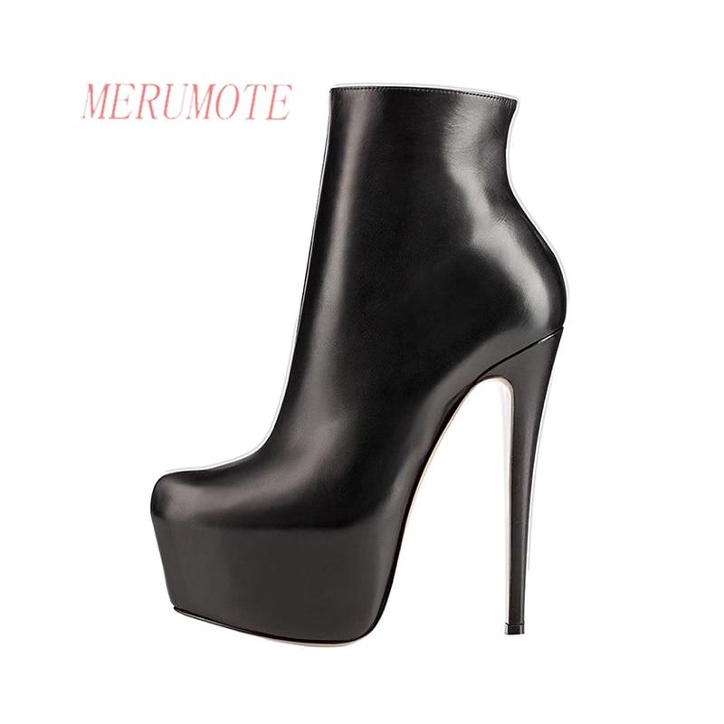 ФОТО MERUMOTE Women's J-109 Fashion Hidden Platform Thin High Heels Side Zipper Ankle Boots Shoes