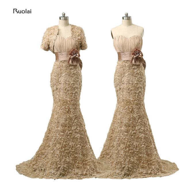 2017 Newest Elegant Flowers Floor Length Champagne Mermaid Mother of the Bride Dresses Bow Ribbons With Jacket Custom Made