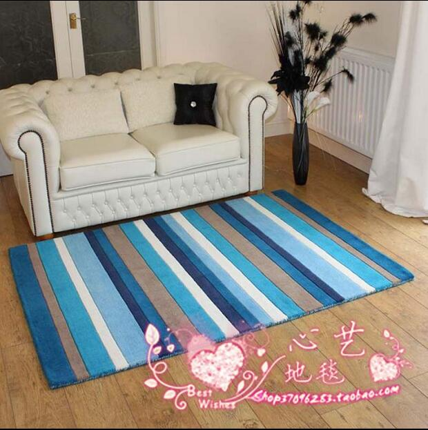 Modern Rectangle Blue Mediterranean Style Striped Carpet Tea Table Pad A  Living Room Bedroom Room Nordic Land Pad Carpet Rug In Carpet From Home U0026  Garden On ...
