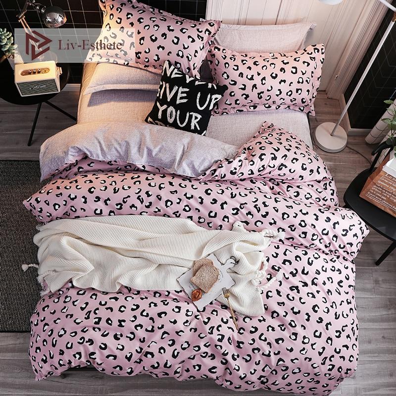 Liv-Esthete 2019 Pink Leopard Bedding Set Soft Duvet Cover Single Double Queen King Bed Linen Flat Sheet Pillowcase For Adult