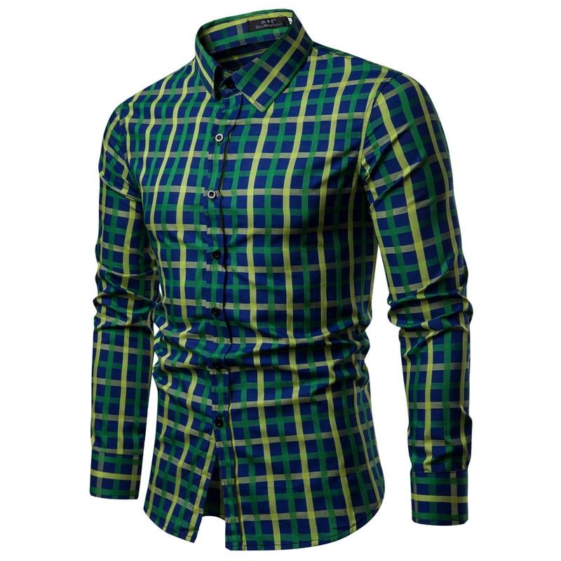 WSGYJ Men Plaid Shirt Long Sleeve Cotton Shirts 2019 Fashion Casual Regular Checkered Camisa Masculina Man Clothes
